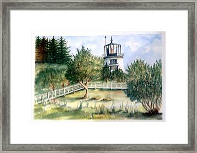 Framed Print featuring the painting Owls Head Maine Lighthouse by Richard Benson