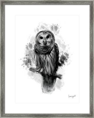 Owl's Portrait Framed Print by Lourry Legarde