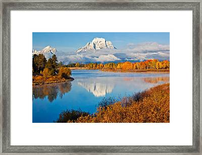 Oxbow Bend In Autumn Framed Print by Guy Schmickle