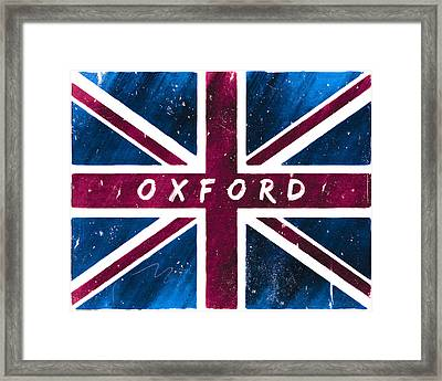 Oxford Distressed Union Jack Flag Framed Print by Mark E Tisdale