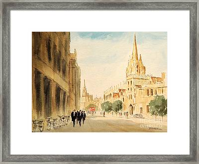 Framed Print featuring the painting Oxford High Street by Bill Holkham