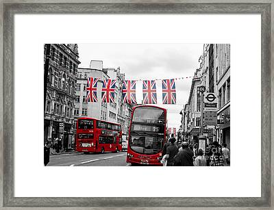 Framed Print featuring the photograph Oxford Street Flags by Matt Malloy