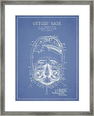 Oxygen Mask Patent From 1944 - One - Light Blue Framed Print