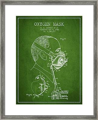 Oxygen Mask Patent From 1944 - Three - Green Framed Print by Aged Pixel