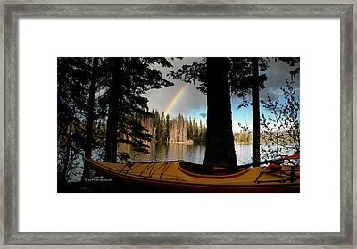 Oyama Lake - Kayaking Framed Print by Guy Hoffman