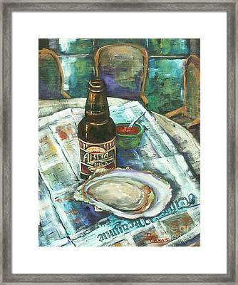 Oyster And Amber Framed Print by Dianne Parks