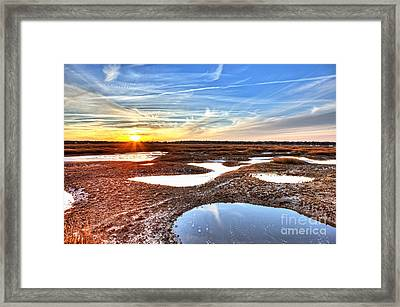 Oyster Beds At Sunset Framed Print by John Wollwerth