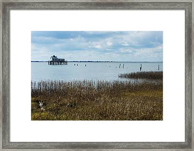Oyster Shack And Tall Grass Framed Print