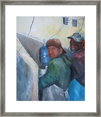 Oyster Shuckers Apalachicola Framed Print by Susan Richardson