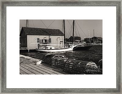 Oyster Sloop At The Dock Framed Print by George Oze