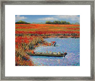 Oystermen At Folly Beach Framed Print