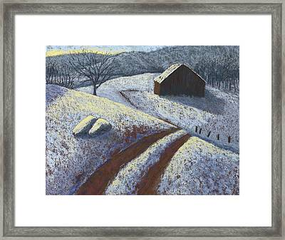 Ozark Winter Barn Framed Print by Garry McMichael
