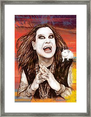 Ozzy Osbourne Long Stylised Drawing Art Poster Framed Print by Kim Wang