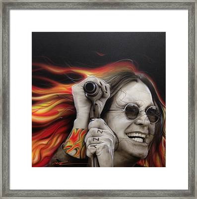 Ozzy Osbourne - ' Ozzy's Fire ' Framed Print by Christian Chapman Art