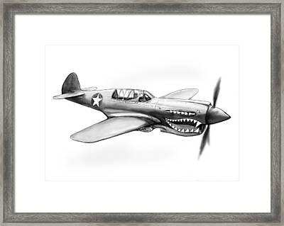 P-40 N Warhawh Airplane Drawing Art Poster Framed Print