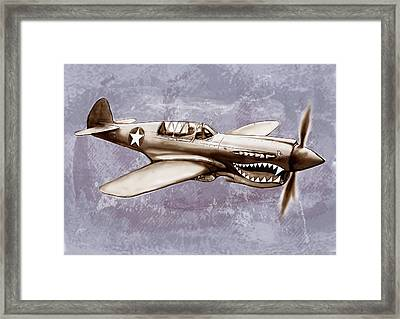 P 40 N Warhawk Airplane In World War 2 - Stylised Modern Drawing Art Sketch Framed Print by Kim Wang