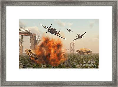 P-47 Thunderbolts Attacking German Framed Print