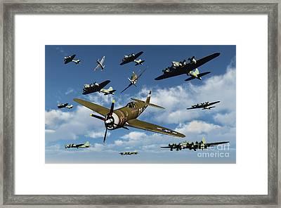 P-47 Thunderbolts Escorting B-17 Flying Framed Print