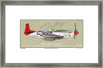 Framed Print featuring the drawing P-51  by Kenneth De Tore