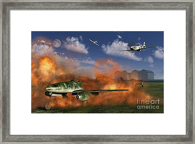 P-51 Mustang Planes Attacking A German Framed Print