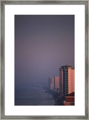 Panama City Beach In The Morning Mist Framed Print by Jennifer E Doll