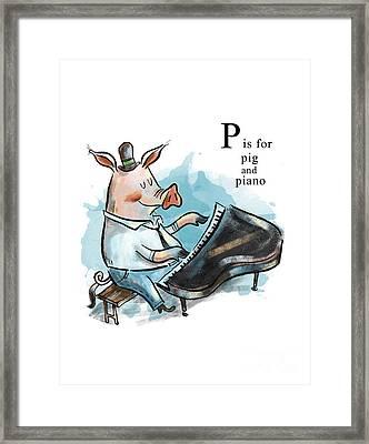 P Is For Pig Framed Print