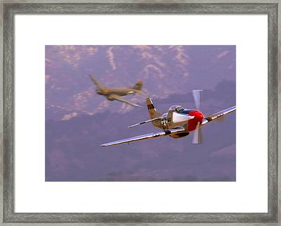 C47 Skytrain With Her P51 Mustang Escort Framed Print