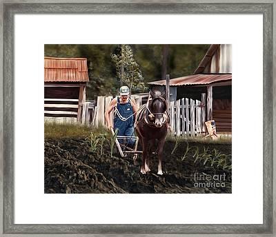 Pa Dee Plowing Framed Print