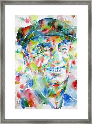 Pablo Neruda - Watercolor Portrait.1 Framed Print by Fabrizio Cassetta