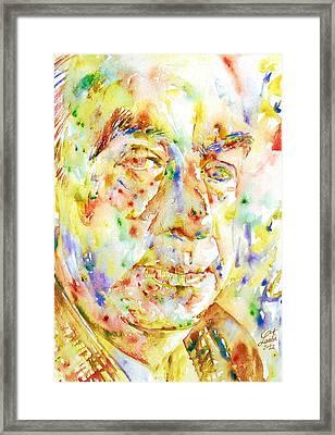 Pablo Neruda - Watercolor Portrait.3 Framed Print by Fabrizio Cassetta