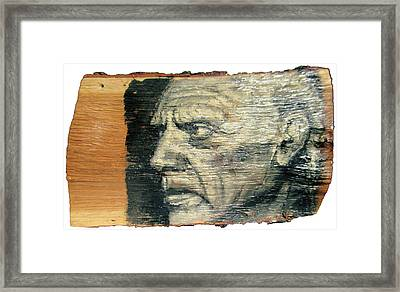 Pablo Picasso Face Portrait - Painting On The Wood Framed Print by Nenad Cerovic