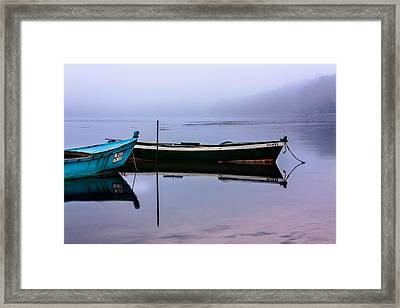 Pacheco Blue Boat Framed Print by Edgar Laureano