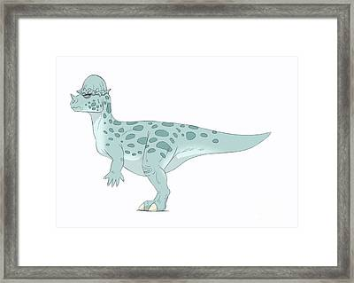 Pachycephalosaurus Pencil Drawing Framed Print by Alice Turner