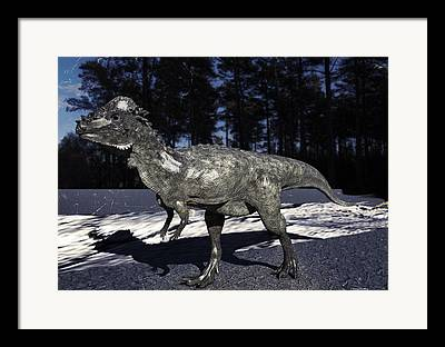Pachycephalosaurus Digital Art Framed Prints