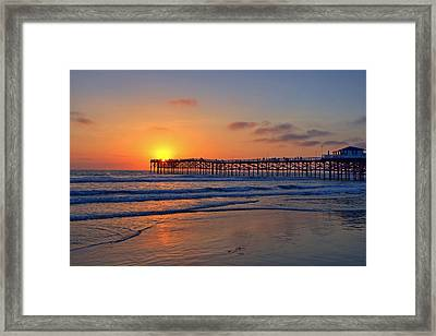 Pacific Beach Pier Sunset Framed Print by Peter Tellone