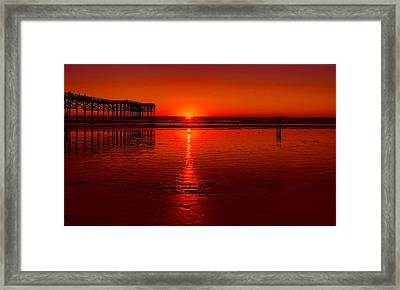 Pacific Beach Sunset Framed Print by Tammy Espino