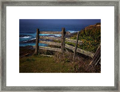 Pacific Coast Fence Framed Print by Garry Gay