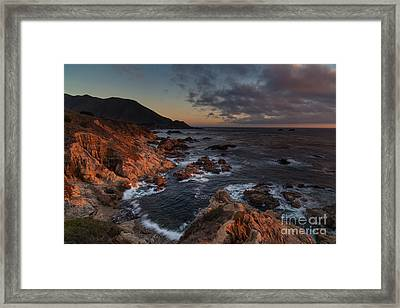 Pacific Coast Golden Light Framed Print by Mike Reid