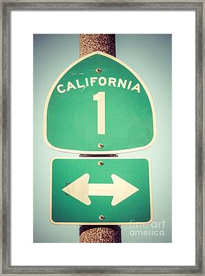 Pacific Coast Highway Sign California State Route 1  Framed Print by Paul Velgos