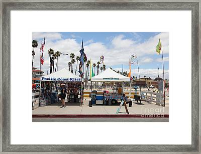 Pacific Coast Kites And Paradise Dogs On The Municipal Wharf At The Santa Cruz Beach Boardwalk Calif Framed Print by Wingsdomain Art and Photography