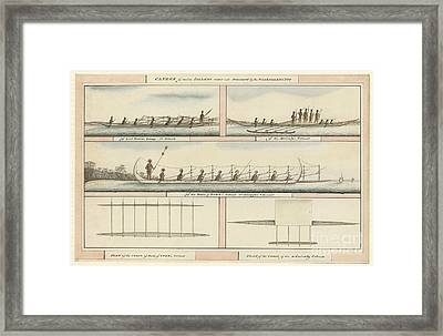 Pacific Island Canoes And Peoples, 1791 Framed Print