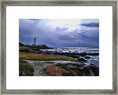 Framed Print featuring the photograph Pacific Lighthouse by Kathy Churchman