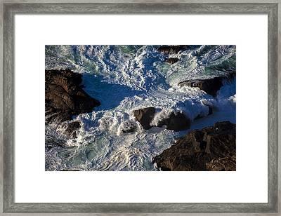 Pacific Ocean Against Rocks Framed Print by Garry Gay