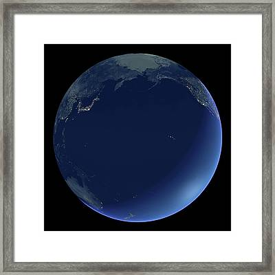 Pacific Ocean At Night Framed Print by Planetary Visions Ltd/science Photo Library