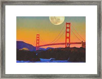 Framed Print featuring the painting Pacific Sunset - Golden Gate Bridge And Moonrise by Douglas MooreZart
