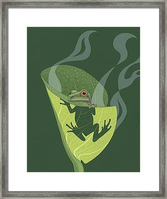 Pacific Tree Frog In Skunk Cabbage Framed Print by Nathan Marcy