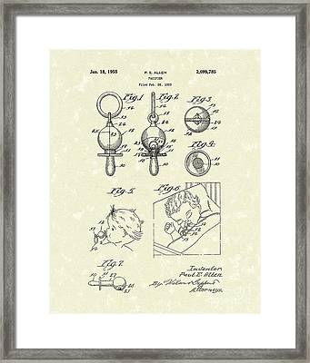 Pacifier 1955 Patent Art Framed Print by Prior Art Design