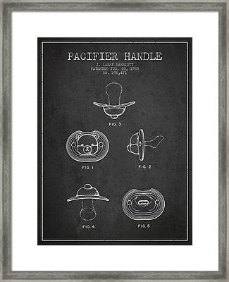 Pacifier Handle Patent From 1988 - Charcoal Framed Print by Aged Pixel