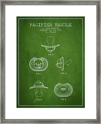 Pacifier Handle Patent From 1988 - Green Framed Print by Aged Pixel