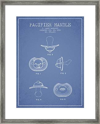 Pacifier Handle Patent From 1988 - Light Blue Framed Print by Aged Pixel